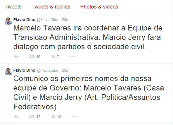 Flávio Dino confirmou pelo twitter Marcelo Tavares como chefe da Casa Civil