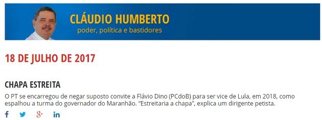 Petista nega convite para que Flávio Dino seja vice de Lula